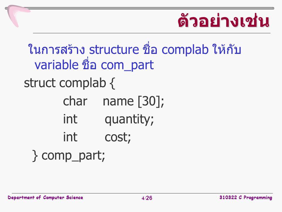 ตัวอย่างเช่น ในการสร้าง structure ชื่อ complab ให้กับ variable ชื่อ com_part. struct complab { char name [30];